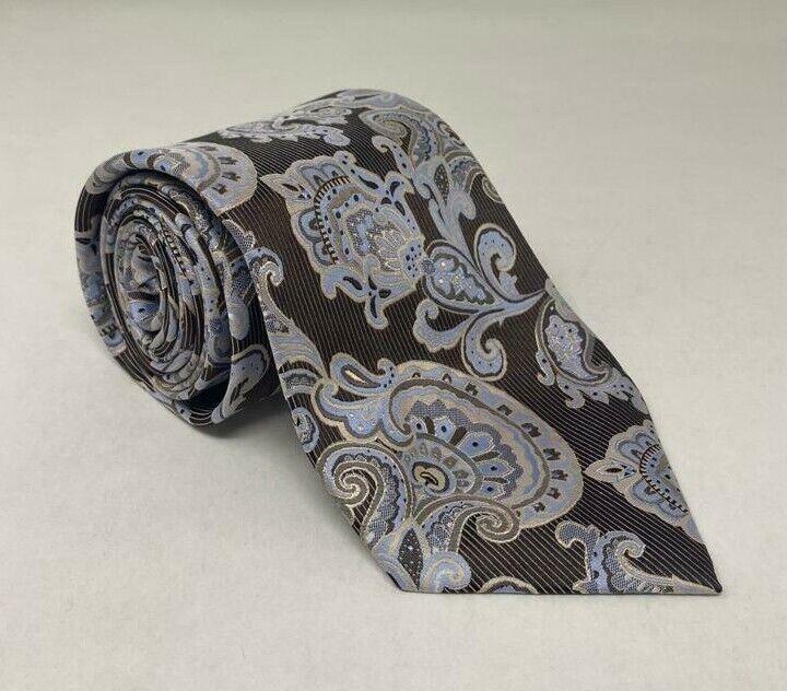 147cm Krawatte 100% Bachrach Seide Herren Mandala Braune Krawatte