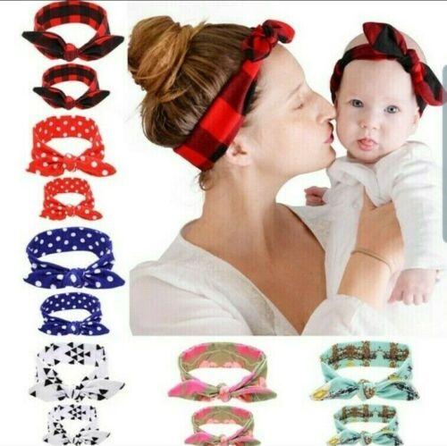 2 Stück//Set Mama Baby Mädchen Damen Stirnband Haarband Haarschmuck Kopfschmuck