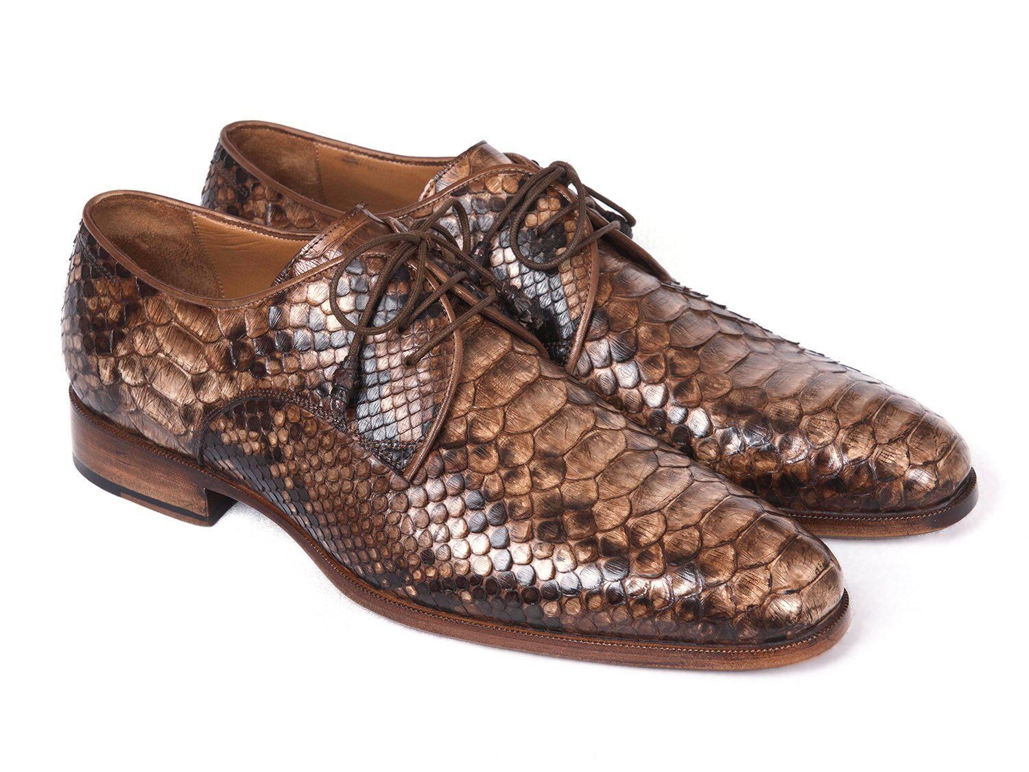 Paul Parkman Brown Genuine Python Derby shoes Handmade