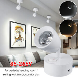 85-265V-3W-LED-Spotlight-techo-pared-Luz-Lampara-de-lectura-de-mesilla-de-noche-Ajustable