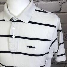 0dfc3fc15b9 item 4 Mens Reebok White navy blue Stripe polo shirt Medium VTG retro Wavey  T shirt M -Mens Reebok White navy blue Stripe polo shirt Medium VTG retro  Wavey ...