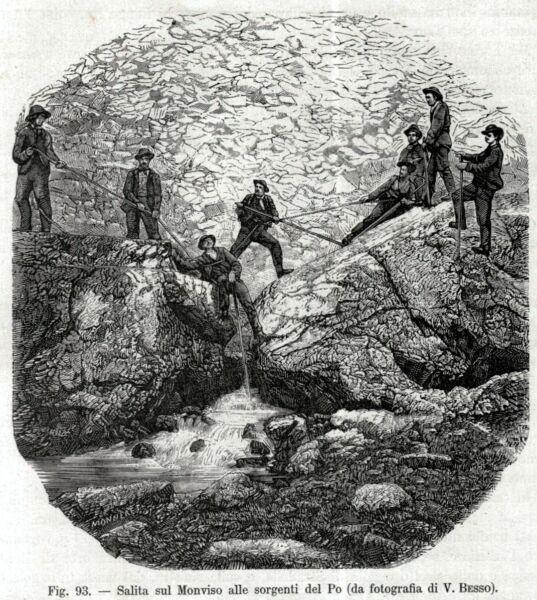Le Sorgenti Del Po Sul Monviso. Alpi Cozie. Stampa Antica + Passepartout. 1890