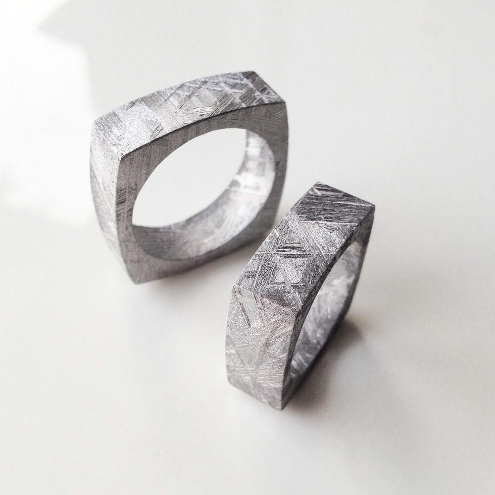Meteorite Jewelry - Contemporary Square Geometric Solid Meteorite Ring