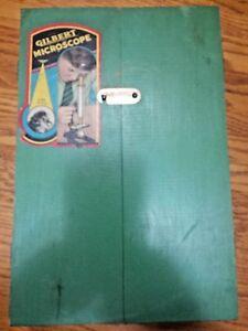 Gilbert-Microscope-Set-Wood-Box-Case-Vintage