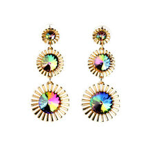 Shiny AB Crystals Gold Flower Long Earrings
