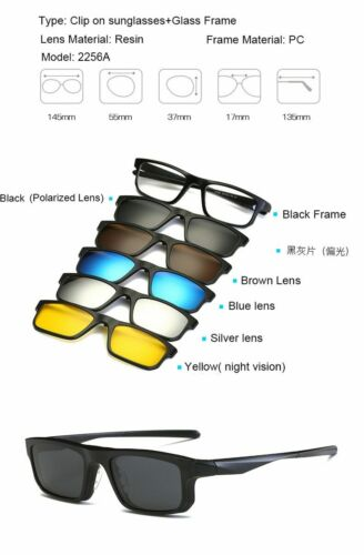 Magnetic Sunglasses 6 in 1 Clip On Men Women Frames Clips Magnet Eyeglasses
