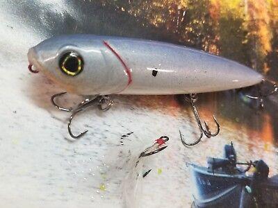TWO REACTION INNOVAT  VIXEN CUSTOM PAINTED TOPWATER FISHING LURE PURE BONE SHAD