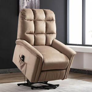 Power-Lift-Chair-Recliner-Suede-Fabric-Padded-Overstuffed-with-RC-for-Elderly