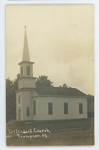 RPPC Church in THOMPSON PA Susquehanna County Pennsylvania Real Photo Postcard