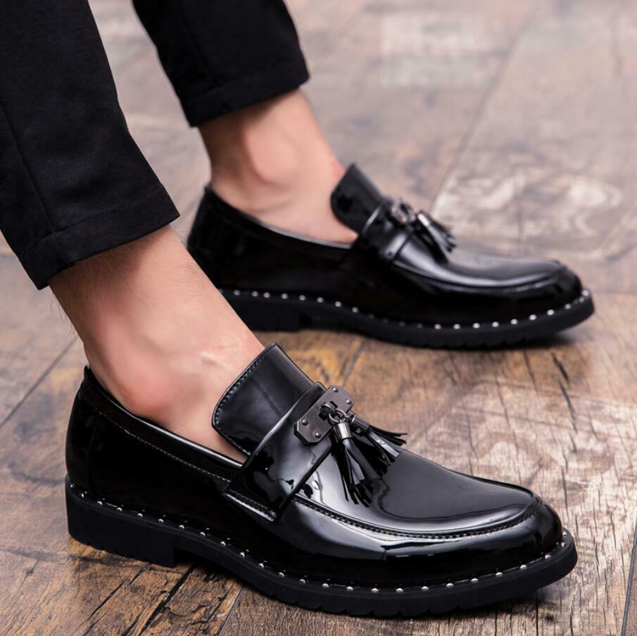 British Men's Leather Slip On Pointy Toe shoes Loafers Casual Driving Moccasins