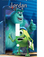 Personalized Monsters Inc Sully & Mike Blue Thumbs Up Light Switch Plate Cover