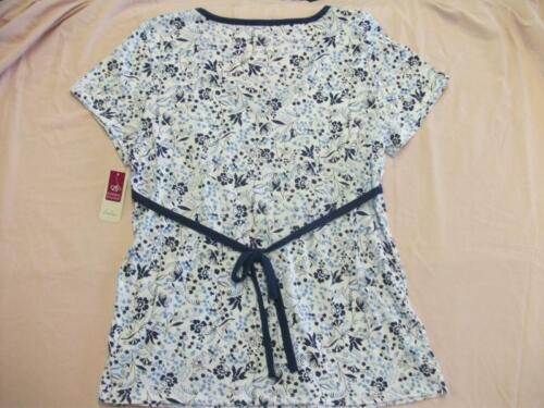 Womens Blouse Ladies Top Size Medium 8-10 Shirt Blue Floral Clothes Baby Doll