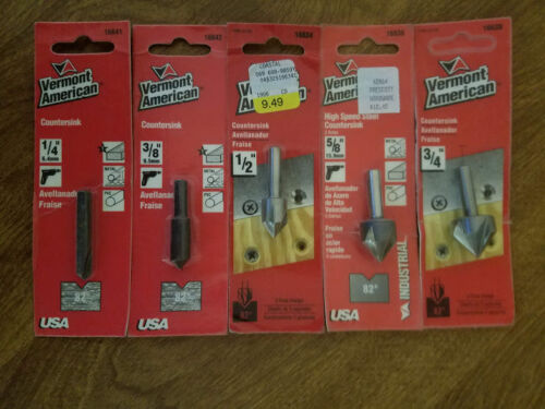 """3//4/"""" 3//8/"""" METAL COUNTERSINK DRILL BITS 1//4/"""" VERMONT AMERICAN WOOD 1//2/"""" 5//8/"""""""