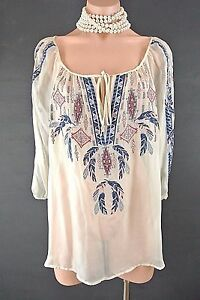4-Love-amp-Liberty-Johnny-Was-Top-M-Ivory-SILK-Sheer-Embroidered-Gypsy-blouse