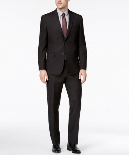 NWT ANDREW MARC $395 Mens Stretch Classic Fit Black Micro-Grid 2 Piece Suit