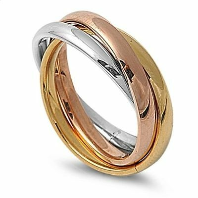Silver Yellow & Rose Gold Russian Stainless Steel Wedding Ring Size 12 13 / X Z