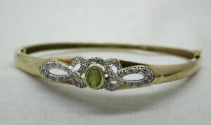 Beautiful-9-Carat-Gold-Peridot-And-Diamond-Hinged-Bangle