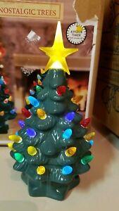 "Iluminated Nostalgic Ceramic Green Lighted Table Top Christmas Tree, 7"" Tall"