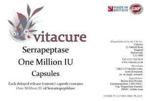 Details about Vitacure Serrapeptase 1,000,000 IU Ultra High Strength  Delayed Release Capsules