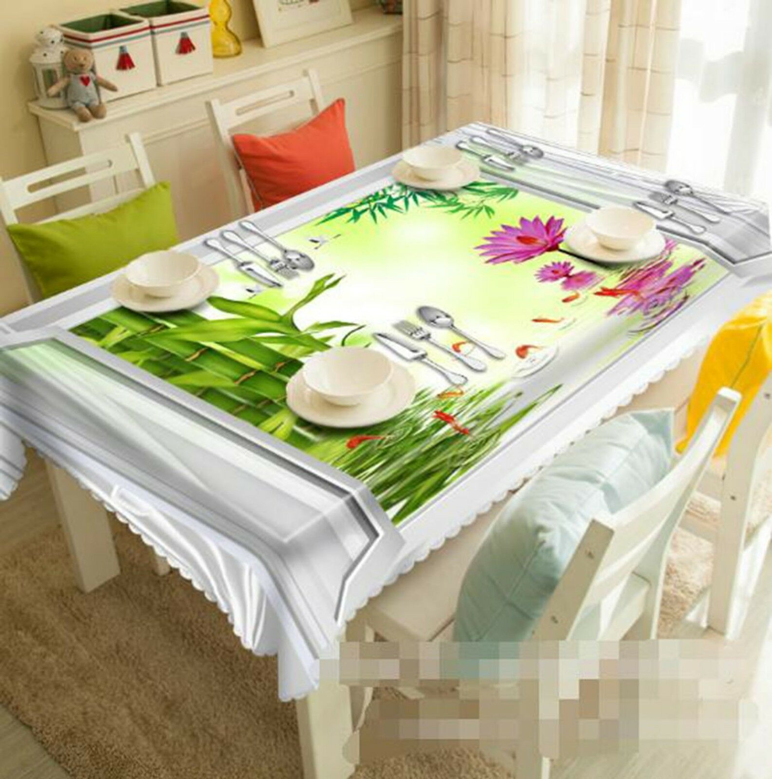 3D Bamboo Lake 02 Tablecloth Table Cover Cloth Birthday Party Event AJ Lemon