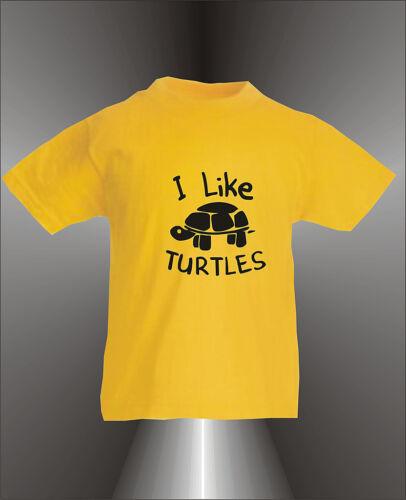 I LIKE TURTLES KIDS COOL T-SHIRT  ALL SIZES COLOURS