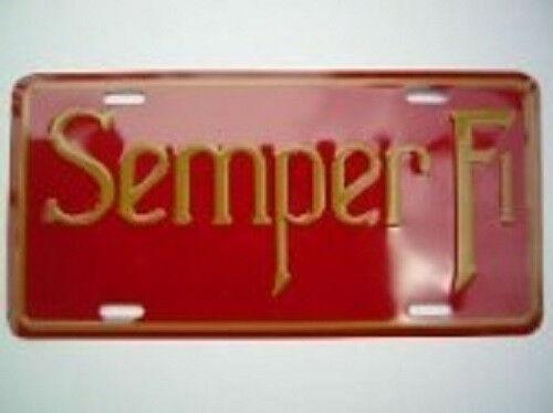 "USMC Marine Marines Semper Fidelis Fi Red 6/""x12/"" Aluminum License Plate Tag"