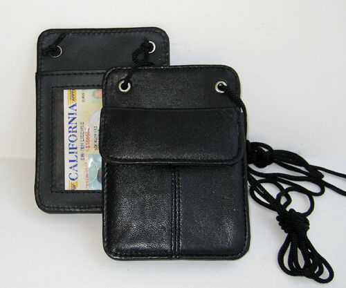 """TWO"" 2 Genuine Leather ID Credit CARD Holder Neck Travel Pouch Wallet New Nice"