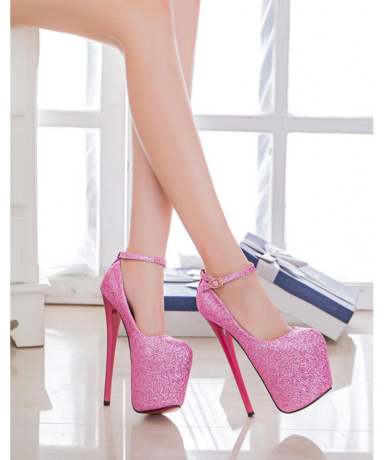 UK2.5-10.5 Mujer 20cm Stiletto Plataforma y Correa en en en el Tobillo Zapatos Taco Alto Fiesta Bombas  calidad auténtica