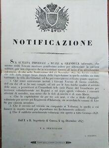 1847-GUERRA-FIRENZE-NOTIFICAZIONE-ARRUOLAMENTO-VOLONTARI-NASCE-IL-RISORGIMENTO