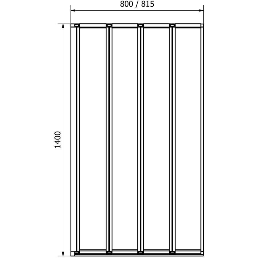 800x1400mm Reversible 4Fold Bathroom Folding Shower Bath Screen Glass Door Panel