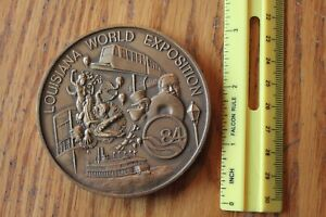 MACO-Louisiana-Worlds-Fair-Exposition-1983-bronze-paperweight-Award-Vintage