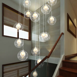 Details About Clear Gl Led Chandelier Lighting Pendant Lamp Ceiling Fixtures Stair Light