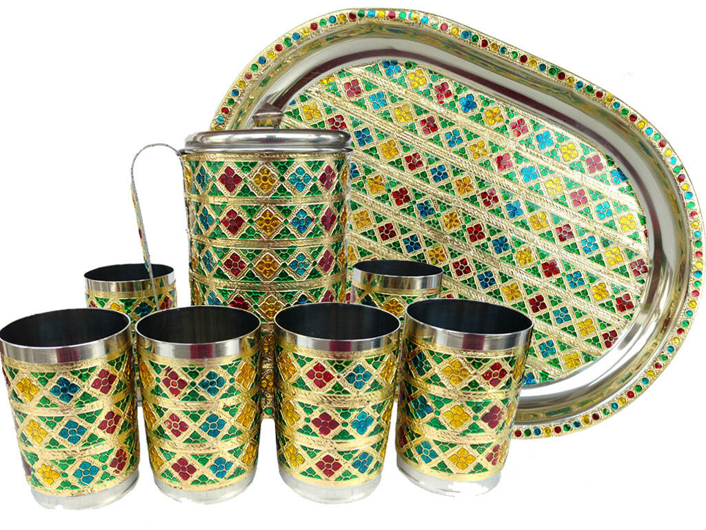 Carafe, 6 verres, 1 plateaux Inoxydable Meena main travail Indien Style Boire Ware Serving Set