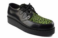 Steel Ground Shoes Black Leather Lime Leopard Hair Creepers Low Sole D Ring