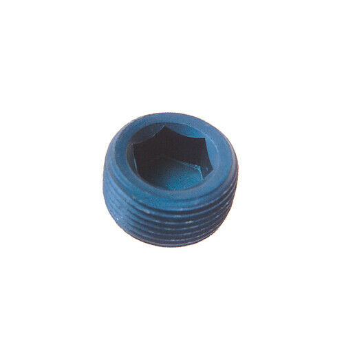 Goodridge Blue Anodised Aluminium NPT Tapered Socket Drive Head Plug Blank