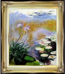 Framed-Claude-Monet-Agapanthus-Repro-Quality-Hand-Painted-Oil-Painting-20x24in