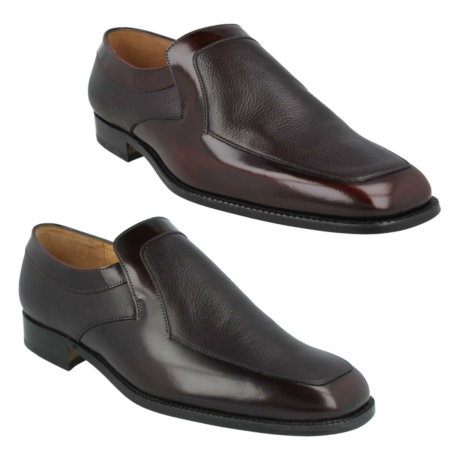 Para hombres Cuero de grano Borgoña Brillar Negro Hi Brillar Borgoña Resbalón en Zapatos Formales GRENSON Carlisle 97e118