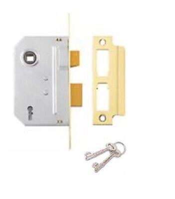 Cupboard Door Lock with 2 Keys 63mm in Electro Brass Finish