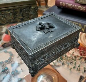 1868-Wilcox-Figural-Box-Oak-Leaf-Acorn-Engraved-Pierced-Greek-Key-Motif-Antique
