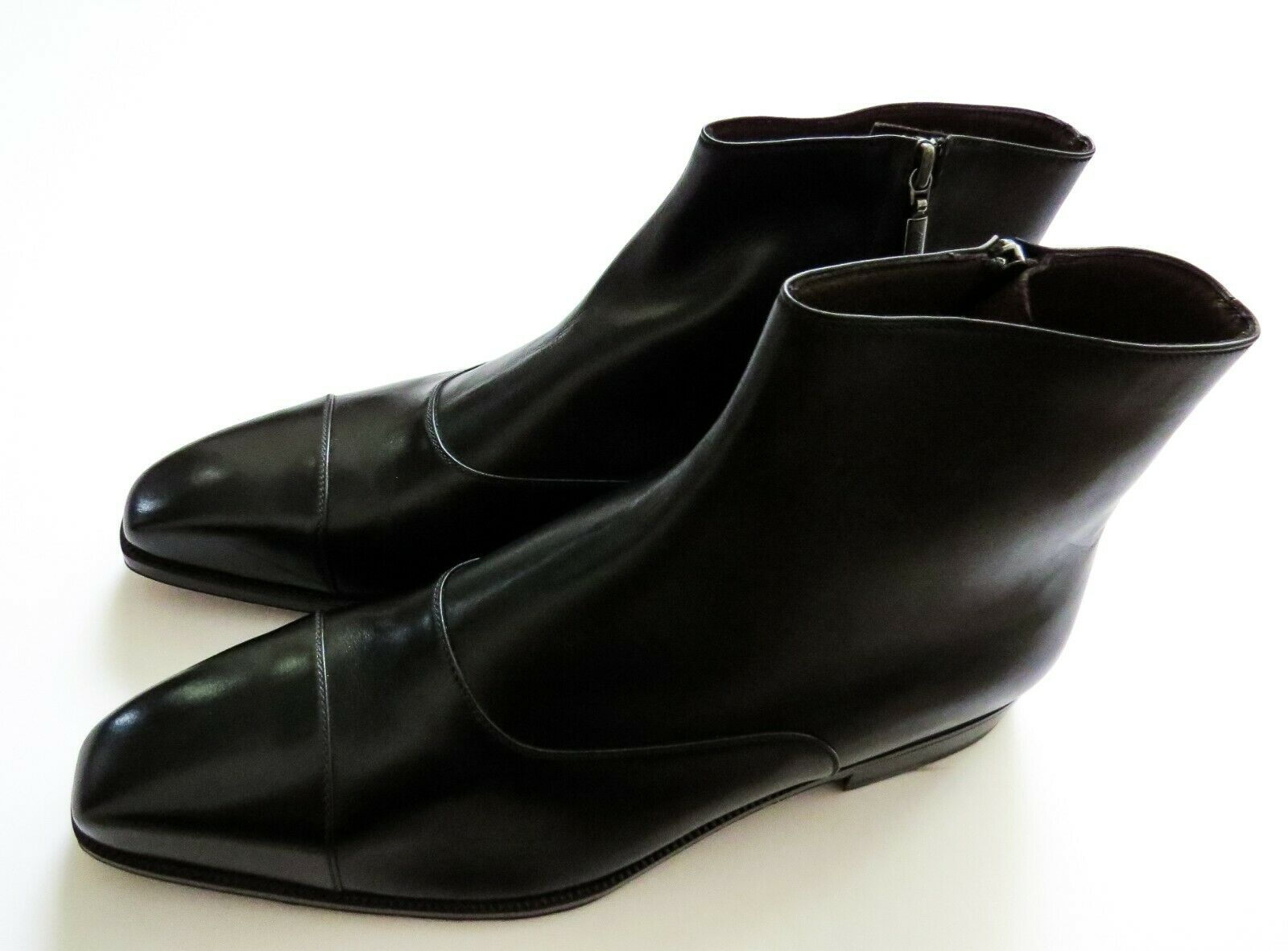 BRIONI Black Leather Zip Up Ankle Boots Size 10 US 43 Euro 9 UK