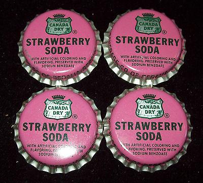 Lot of 4 Vintage Canada Dry Strawberry Unused Soda Pop Bottle Caps Sedalia Mo