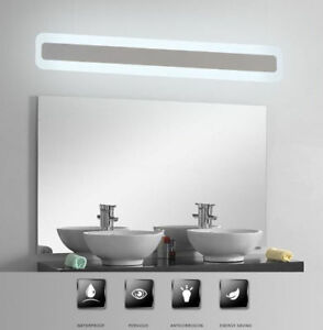 Image Is Loading Acrylic Bathroom Mirror  Front Light LED Waterproof Antifogging