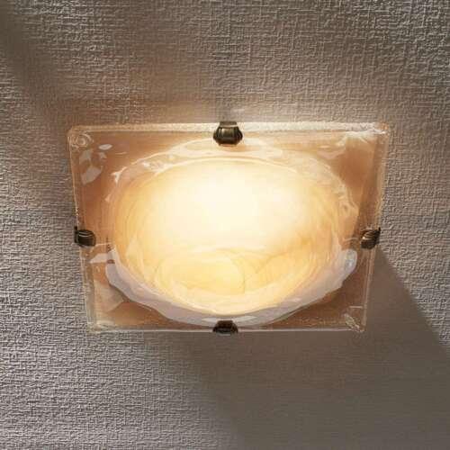 Deckenleuchte Cilea Quadratisch Glas Weiß Amber Marmoriert Lampenwelt 30 cm E27