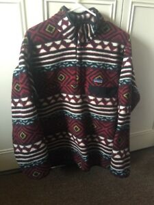 Patagonia-Synchilla-Patterned-Snap-Fleece-Pullover-Sweater-Medium-EUC