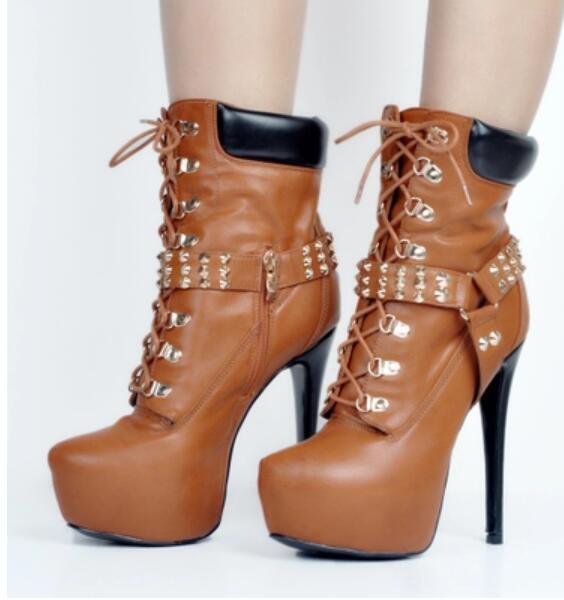 Chaussures femme les modes Moto Bottes Talons Aiguilles Plateforme Gothique Punk Haut Talon Chaussures Sz37-47
