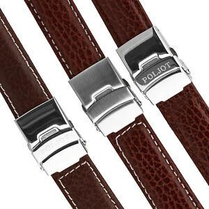 Uhrenarmband-Faltschliesse-POLJOT-Leder-Bueffel-Armband-20mm-braun-Seitendruecker