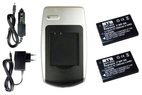 S10 Pro HD 2xBaterìa+Cargador PDR-BT3 PDRBT3 para Toshiba Camileo Pro