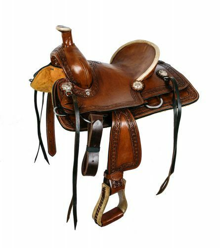 12 Double T hard seat roper style saddle with aztec design tooling.  Full QH Bar