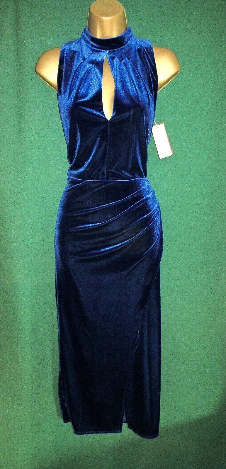 New MONSOON Blau ROXIE Stretch Velvety Vamp Midi Cocktail Party Shift Dress 8-18