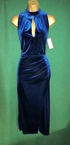 New-MONSOON-UK-12-14-16-18-Blue-ROXIE-Stretch-Velvety-Vamp-Cocktail-Party-Dress